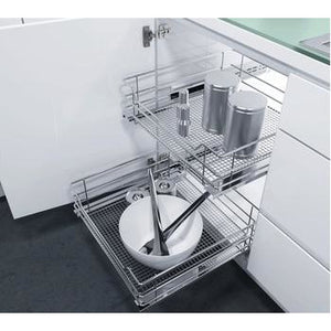 Pull Out Storage Baskets, with Chrome Wire Mesh Baskets, for Hinged Door Cabinets, Vauth-Sagel VS SUB Basket