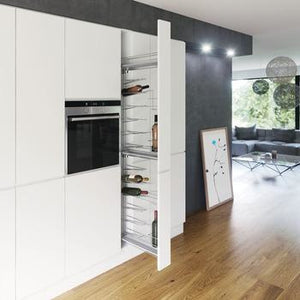 Pull Out Larder Unit, with Baskets for Cabinet Width 150 mm, with 16 Bottle Wine Rack Vauth-Sagel VS TAL WIRO Bottle 15