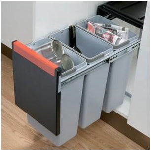 Cube 30 pull-out waste bin, 3x 10 litre bins