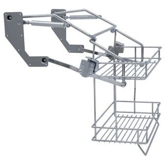 Pull down two tier wire shelf