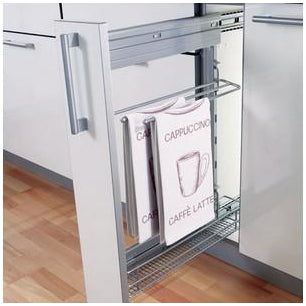 Storage basket and towel holder set, 82 mm width, for 150 mm cabinet width