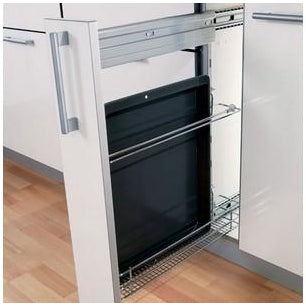 Storage basket and oven tray holder set, 82 mm width, for 150 mm cabinet width