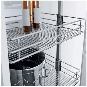 Larder unit complete set, centre mounting, height adjustable (950-2330 mm), full extension, with SAPHIR mesh chrome wire storage baskets, for 300 mm cabinet width