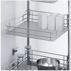 VSA swing out larder unit complete set, centre mounting, height adjustable (1200-2140 mm), full extension, with SAPHIR mesh chrome wire storage wire baskets, for 600 mm cabinet width