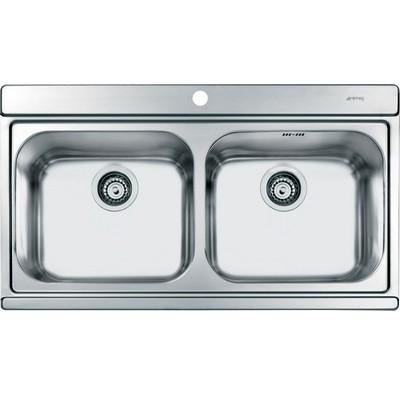 SMEG Iris double bowl sink and drainer