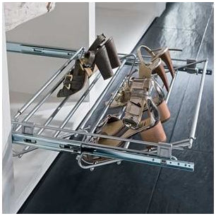 Pull-out shoe rack, width adjustable