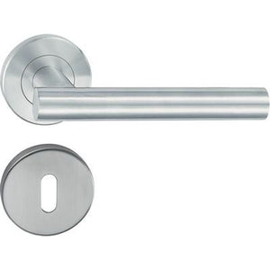 HL02 Lever handle set, stainless steel, Standard keyway escutcheon