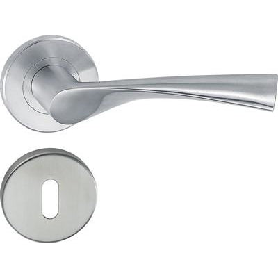 HL09 Lever handle set, stainless steel, standard keyway escutcheon
