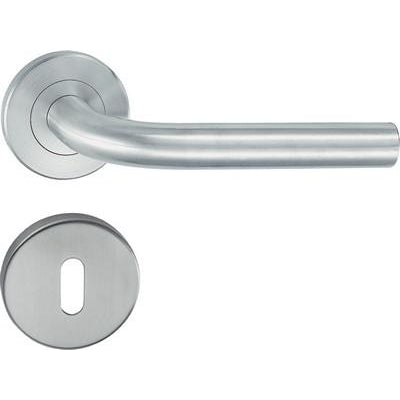 HL05 Lever handle set, stainless steel, standard keyway escutcheon
