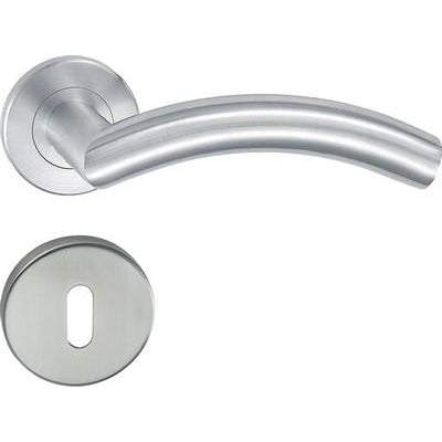 HL06 Lever handle set, stainless steel, standard keyway escutcheon