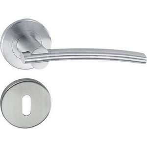HL08 Lever handle set, stainless steel, standard keyway escutcheon