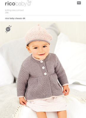 Rico Girl's Coat & Beret Knitting Pattern 296 in Baby Classic DK Yarn