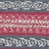 King Cole Fjord DK in shade Ulvik - self patterning yarn containing stripes of grey and pink toned fairisle