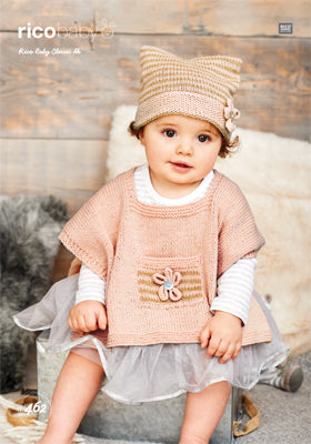 Rico Girl's Poncho & Hat Knitting Pattern 462 in Baby Classic DK Yarn