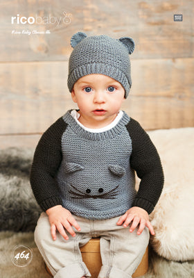 Rico Boy's Sweater & Hat Knitting Pattern 464 in Baby Classic DK Yarn