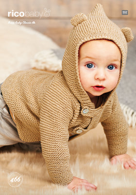 Rico Boy's Hooded Jacket Knitting Pattern 466 in Baby Classic DK Yarn