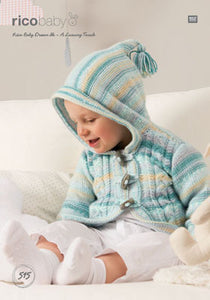 Rico Hooded Jacket Knitting Pattern 515 in Baby Dream DK Yarn