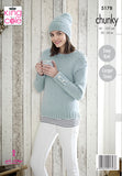 Duck egg pale blue sweater and matching hat. buttons of the patterned sleeves, shoulders and round neck.  matching stripe textured hat.