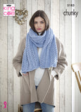 Light blue women's shawl with arrow lace pattern.