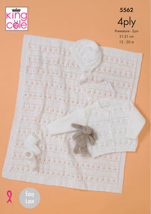 King Cole - Baby Blanket, Cardigan, Hat & Bootees - Pattern 5562