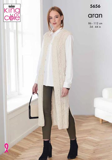 King Cole Forest Aran Pattern 5656 - Waistcoat and Jacket