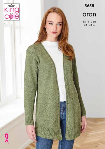 King Cole Forest Aran Pattern 5658 - Cardigans