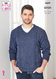 King Cole Forest Aran Pattern 5659 - Sweater and Sleeveless Sweater