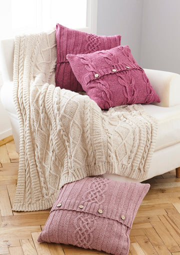 King Cole Forest Aran Pattern 5660 - Throw and Cushion Cover
