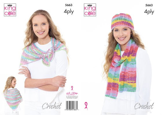 King Cole - Scarf, Hat & Triangular Wrap Pattern 5663