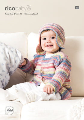 Rico Girl's Jacket & Hat Knitting Pattern 690 in Baby Dream DK Yarn