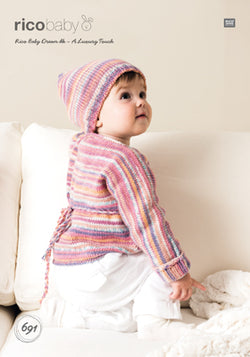Rico Girl's Wrap Over Cardigan & Hat Knitting Pattern 691 in Baby Dream DK Yarn
