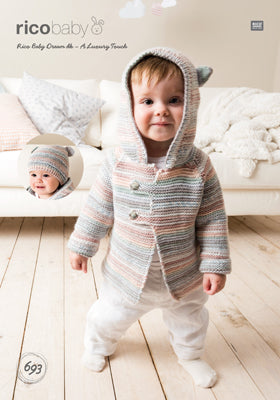 Rico Boy's Cardigan & Hat Knitting Pattern 693 in Baby Dream DK Yarn