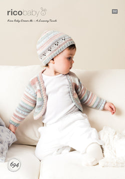 Rico Cardigan & Hat Knitting Pattern 694 in Baby Dream DK