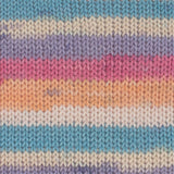 Gründl Hot Socks Colour Shade 410 - A self striping yarn containing pastel purple, pink, blue and orange shades with white and off white stripes