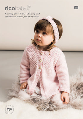 RICO BABY DREAM DK UNI CARDIGANS AND HEADBAND PATTERN 791