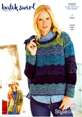 Stylecraft Women's Sweater & Cardigan Knitting Pattern 9483 in Batik Swirl DK