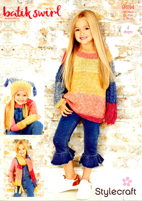 Stylecraft Children's Jumper & Accessories Knitting Pattern 9484 in Batik Swirl DK