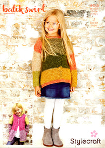Stylecraft Children'sCardigan & Sweater Knitting Pattern 9485 in Batik Swirl DK