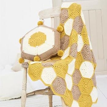 Stylecraft Bellissima DK - Crochet Honeycomb Blanket and Cushion Kit