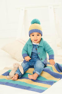 Stylecraft Bambino DK Pattern 9757 - Cardigan, Hat and Blanket