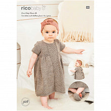 RICO BABY MELANGE DK - DRESS HEADBAND & SLIPPERS - PATTERN 928