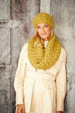 Lime/mustard yellow beret and scarf.