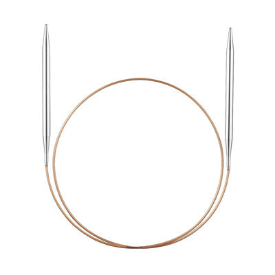 ADDI Fixed Circular Aluminium and Brass Knitting Needles 80cm for Yarn and Wool