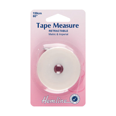 Hemline Retractable Double-sided White Tape Measure 150cm