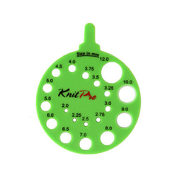 KnitPro Round View Sizer Needle Gauge in Green