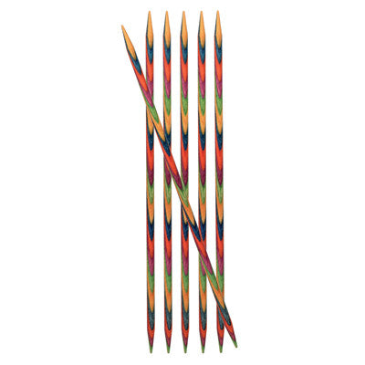 KnitPro Multicoloured Symfonie 15cm Double Pointed Needles, Set of 6, for Knitting
