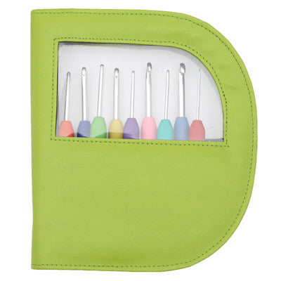 KnitPro Set of Aluminium Crochet Hooks in a Green Case