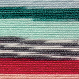 Variegated yarn containing blue, turquoise, grey, white, red and pink