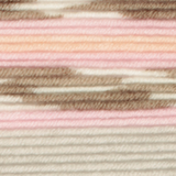 Variegated yarn containing pastel pinks, orange, grey, brown and white