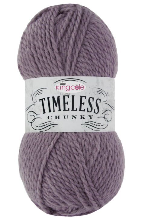 A ball of King Cole Timeless Chunky - a chunky, soft alpaca mix yarn. This ball is in the shade mulberry.